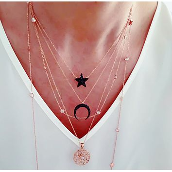 925 Sterling Silver White Zirconia Long Necklaces