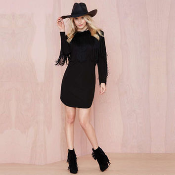 Autumn New Arrivals Women Sexy Black Dresses O-Neck Long Sleeve Fringe Tassels Hem Small Slit Retro Slim Prom Mini Dress NC-592