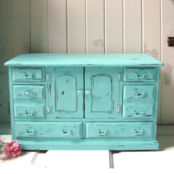 Vintage Large Aqua Jewelry Box, Teal Big Jewelry Holder, Shabby Chic, Jewelry Organizer, Distressed Jewelry Chest, Beach Chic, Gift Ideas