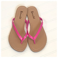 Forever Faithful Classic Strap Vibrant Pink Flip Flops, Sandals