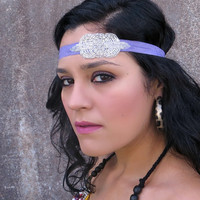 Adult Beaded Headband, Silver Art Deco Design on Purple Stretchy Headband for Women Teens by Flower Couture