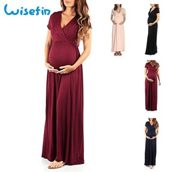 Wisefin Maternity Dress For Women 4 Style Maternity Feeding Dress Summer Casual Pregnancy Maxi Dress Nursing Clothes With Sleeve
