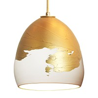 White & Brass Metallic Ombre Porcelain Round Globe Pendant Light