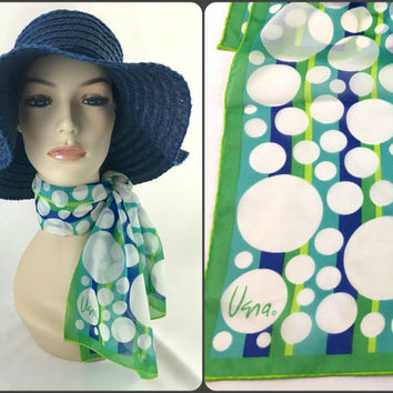 Vera Neumann Polk Dot Mod Neck Scarf Blue Turquoise Green White Polka Dots Long Colorful Oblong Sheer Chiffon Polyester Headscarf Retro Chic
