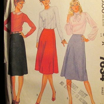 Sale Uncut 1980's McCall's Sewing Pattern, 7634! Size 12 Small/Medium/Women's/Misses/Knee Length Skirts/Flare Skirts/Wrap Skirts/Pleated Ski