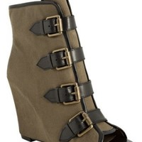 Ash military twill 'Jezebel' peep toe buckle wedge booties | BLUEFLY up to 70% off designer brands