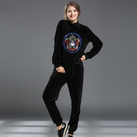 Winter Women's Fashion Embroidery Hoodies Slim Double Sided Stylish Bottom & Top [8901538118]