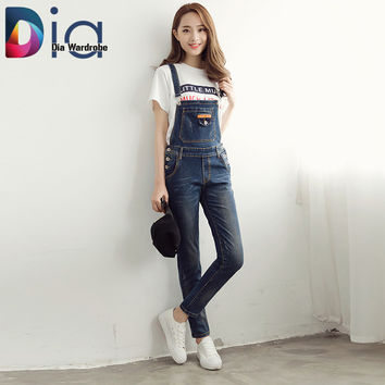 Dia 2016 Spring Women Denim Pants Casual Spaghetti Strap Jumpsuit Cowboy Behind Overalls New Fashion Size 26-31 Blue Jeans N242