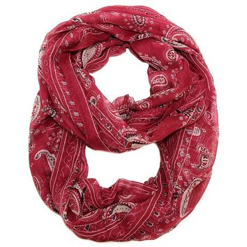 Red Infinty Scarf - Bandanna Print