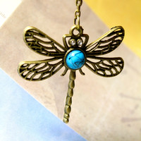 Hollow Dragon Fly Necklace