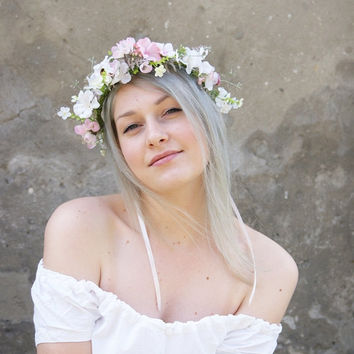 floral crown, flower crown, wedding floral crown, bridal crown, wedding headpiece, pink and white flower crown, pink wedding, pink,