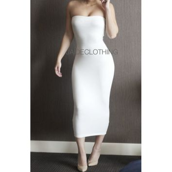 Light Grey Ribbed Tube Midi Dress - Jaide Clothing