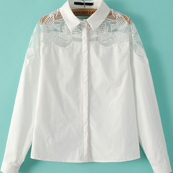 White Mesh Embroidered Shirt Collar Long Sleeve Blouse