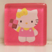 Kawaii Hello Kitty Glass Tile Magnet
