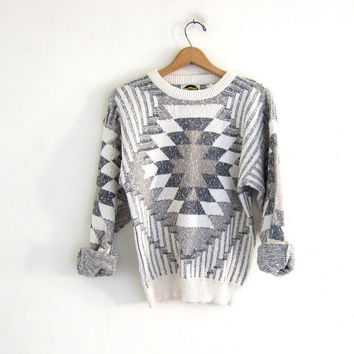 Vintage tribal sweater. Retro sweater. Boho sweater. Ethnic printed pullover