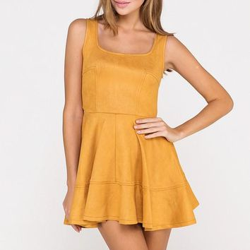 Have It Your Suede Flare Dress in Mustard