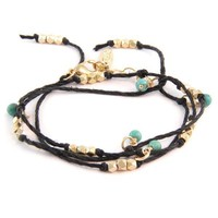 Natural Black Hemp Wrap Bracelet with Turquoise Semi Precious Stones and Bead Accent Combo