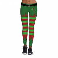 Dark Green Stripes Christmas Leggings