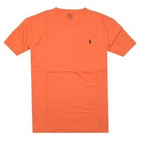 Polo Ralph Lauren Men V-Neck Pony Logo T-Shirt (M, Orange pale)