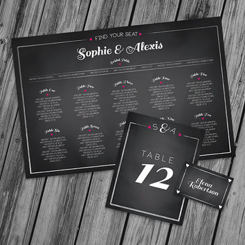 Wedding Seating Chart Wedding Place Card Wedding Table Number - Printable PDF   - Chalkboard