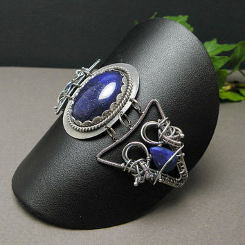 Silver wire wrapped bracelet, blue lapis, vintage style, meatalwork, wirework