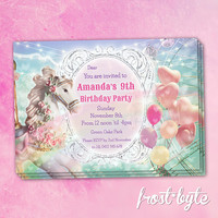 Girly Carnival Birthday Invitation - Customised file with your details to download and print at home - balloons carousel horse ferris wheel