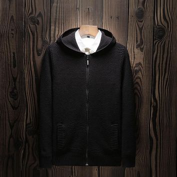 new arrival fashion casual large Male Cotton Sweater Hooded Cardigan men Computer Knitted Zipper plus size MLXL2XL3XL4XL5XL6XL