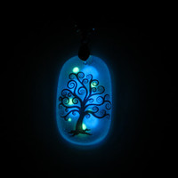 Glass Necklace - Mage Tree - Glow in the Dark