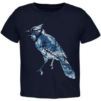 LMFCY8 Spring Flowers Blue Jay Bird Toddler T Shirt