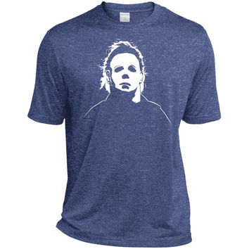 Jacted Up Tees Michael Myers Halloween Movie Mask Men's T-Shirt SHIPS FROM OHIO USA-01  ST360 Sport-Tek Heather Dri-Fit Moisture-Wicking T-Shirt