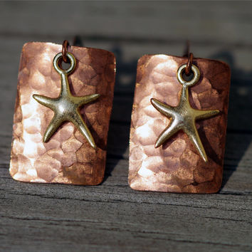 Hammered copper earrings with gold vermeil starfish charm
