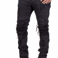 Flex Stretch Distressed Layered Denim Jeans (Black) by Smoke Rise