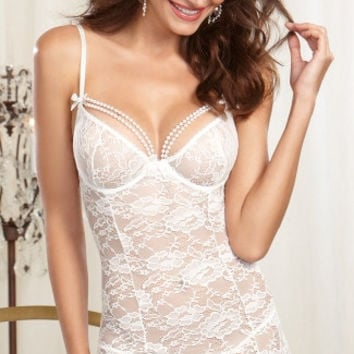 Pearl Perfection White Lace Garter Chemise