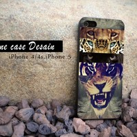 White Lion Collage - iPhone 4 Case, iPhone 4s Case and iPhone 5 case Hard Plastic Case
