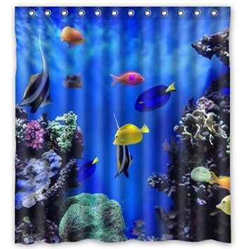 "Custom Amazing Design Cover With Colorful Tropical Fish At The Aquarium Waterproof Polyester Fabric Bathroom Shower Curtain 66"" x 72"""