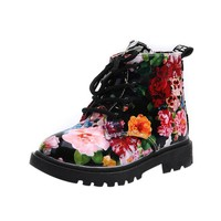 Children boots Floral printed girls shoes Winter shoes Baby Child Army Style Martin Boot Warm Shoes