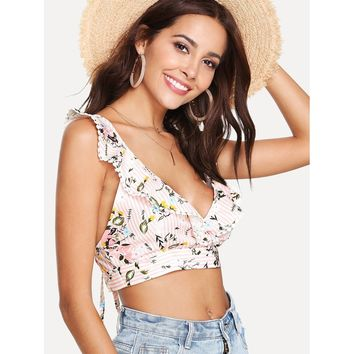Criss Cross Back Striped Crop Top Multicolor