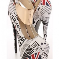 London Print Faux Leather High Polish Ankle Strap Heels