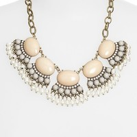 Junior Women's BP. Bead Fringe Statement Necklace - Pink/ Grey