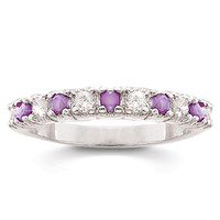 Sterling Silver Genuine Amethyst and White Topaz Pure Bliss Band Ring