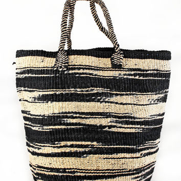 Large Hand Woven Zebra Stripe Sisal Tote Bag