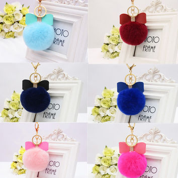 Hot Sale 15 Colors Bow Real Fur Ball Keychain Rex Rabbit Fur Pom Pom Plush Key Chain Keyring Men Women Pompom Keychain