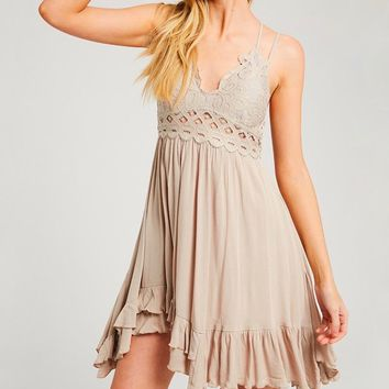 Speechless Scalloped Lace Bralette Mini Dress in Champagne