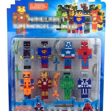 Minecraft Avengers Hero Iron Men Captain America Hulk Overworld Hangers Accessories Toys Star Wars Darth Vader Building Blocks