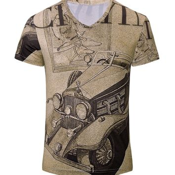 Streetstyle  Casual Vintage Car Printed Breathable V-Neck T-Shirt
