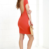 Daring Dame Coral Red Backless Bodycon Dress