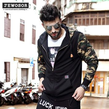 Plus Size Men's Fashion Men Camouflage Mosaic Hoodies Hats Jacket [6528920771]