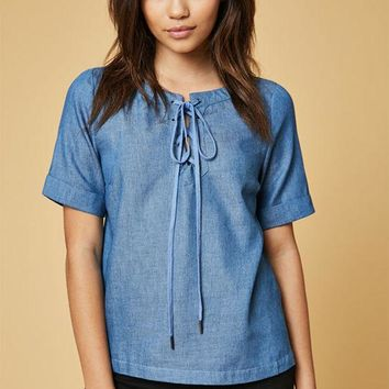 CREYONDI5 Lucca Couture Lace-Up Denim T-Shirt