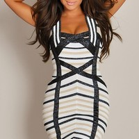 Designer Shiny Multi-Ivory Geo Combo Thin Lined Bandage Dress