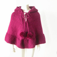 Hand Knit Girl's Fuchsia Cape / Hooded Alpaca Poncho / Baby, Toddler Wool Sweater / Made To Order